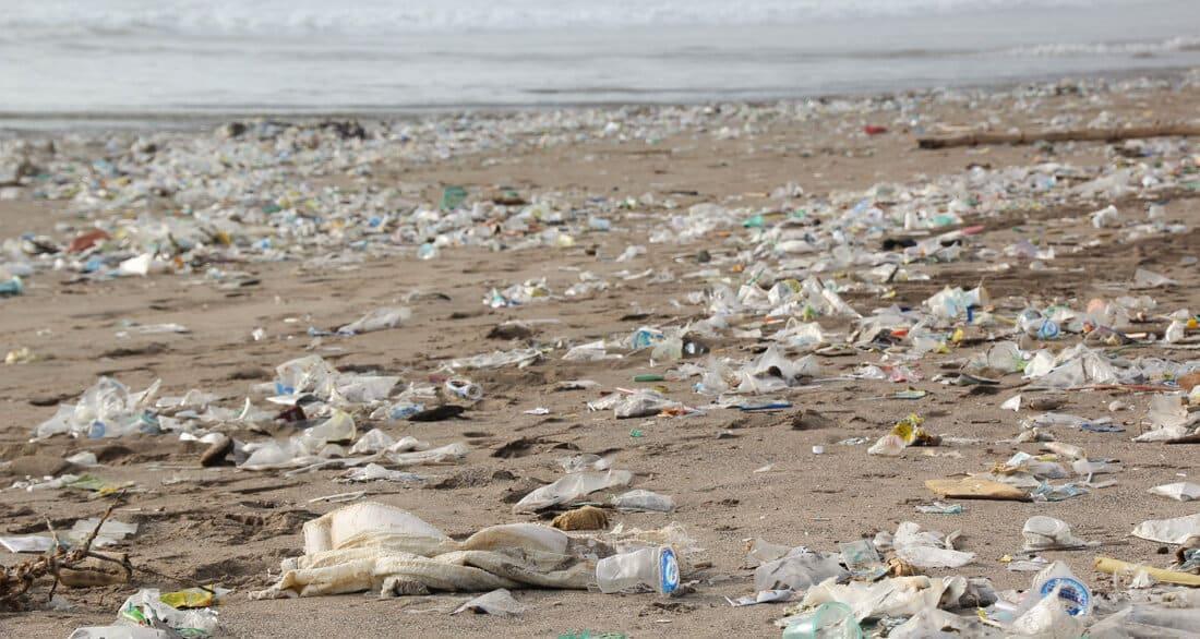 plastic at beach